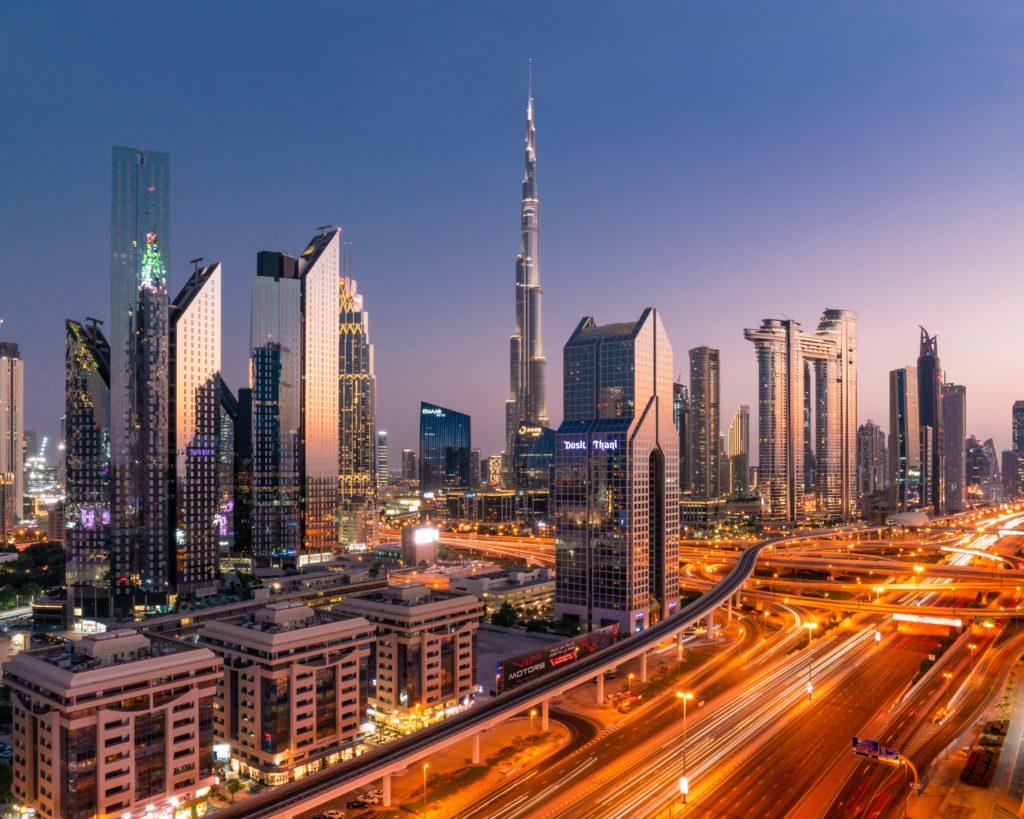Бурдж-Халифа, Дубай, город на закате, небоскребы